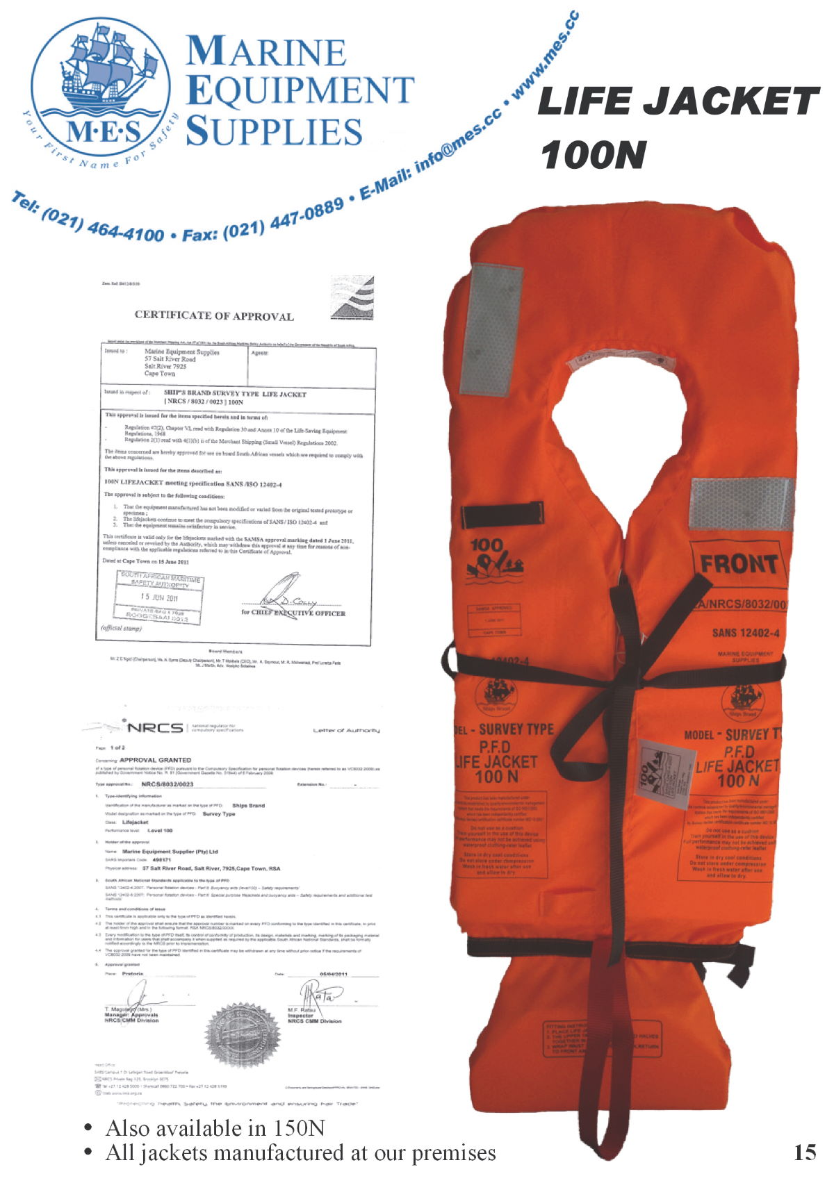 Marine Lifejackets 100N & 150N