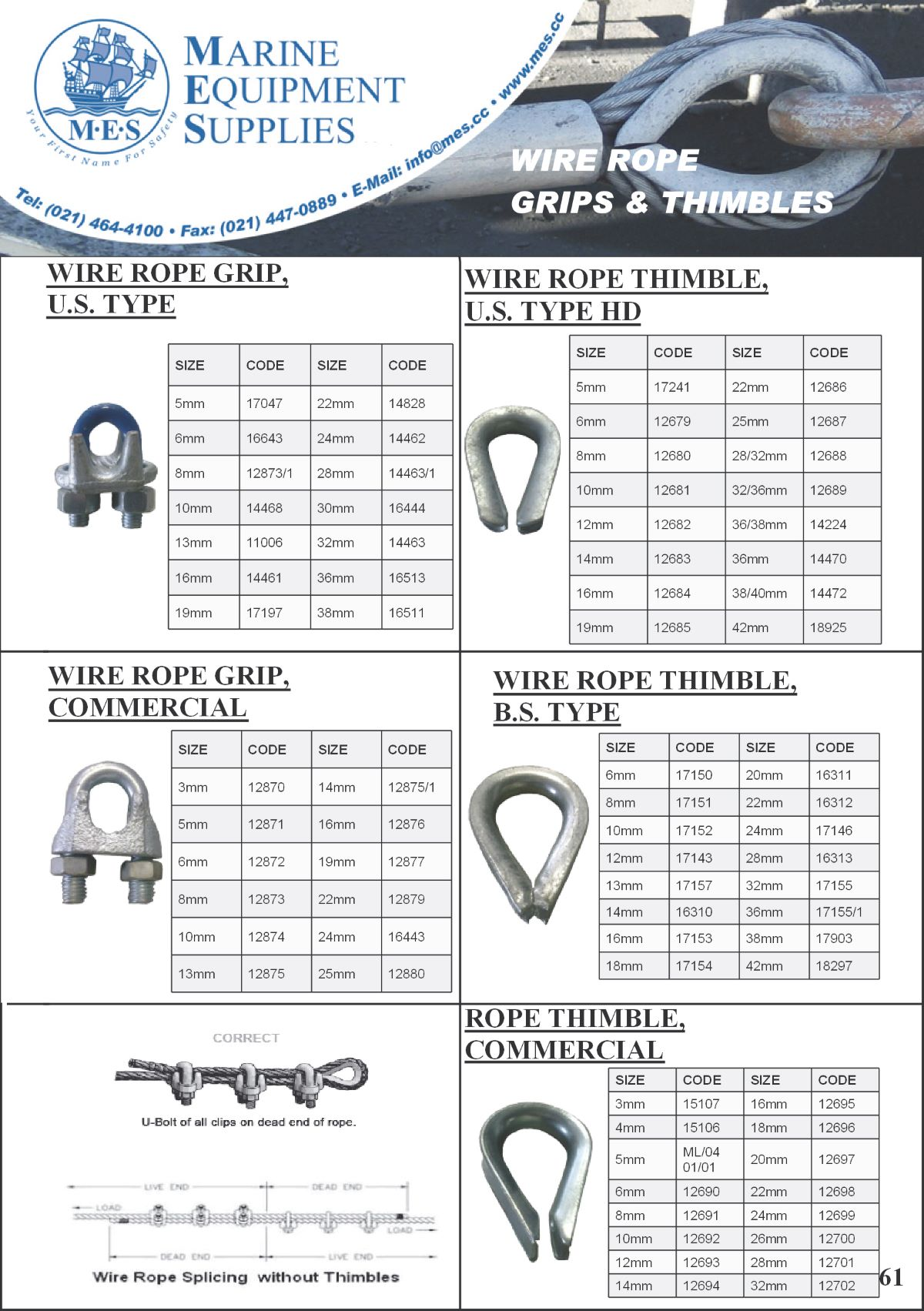 Marine Wire Rope Grips & Thimbles